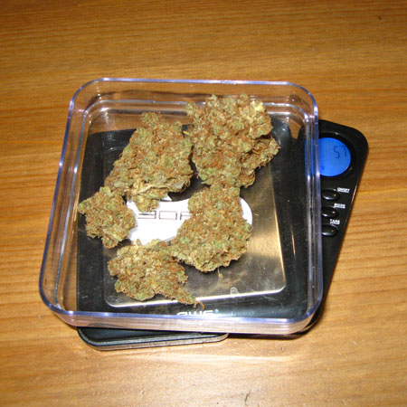 Weigh out the amout of cannabis you wish to use.