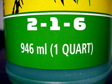 "Most nutrient bottles have 3 numbers, called ""NPK"" which stands for Nitrogen, Phosphorus and Potassium"