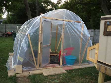 Finished greenhouse with door open