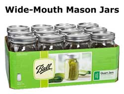 Wide-Mouth Mason Jars - Quart size
