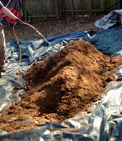 Water mix and either wrap up in tarp or store in a large container such as a gargbage can